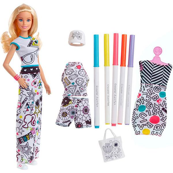 Купить Mattel Barbie FPH90 Барби + Crayola одежда-раскраска, Кукла Mattel Barbie