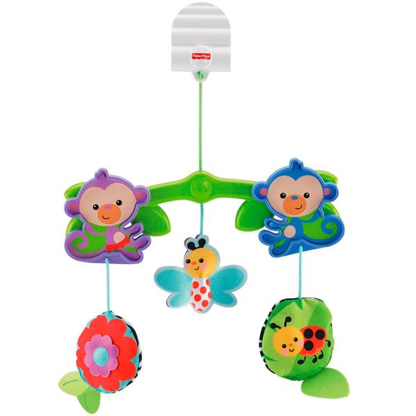Купить Mattel Fisher-Price BHW59 Фишер Прайс Мобиль для коляски Веселые друзья , Мобили для малышей Mattel Fisher-Price