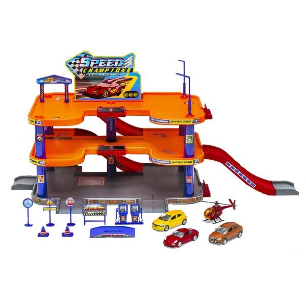 Купить Welly 96050 Велли Игровой набор Гараж, 3 уровня, включает 3 машины и вертолет, Игровой набор Welly