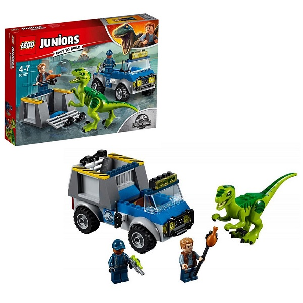Lego Juniors 10757 Конструктор Лего Jurassic World Грузовик спасателей для перевозки раптора, арт:153853 - Джуниорс, Конструкторы LEGO