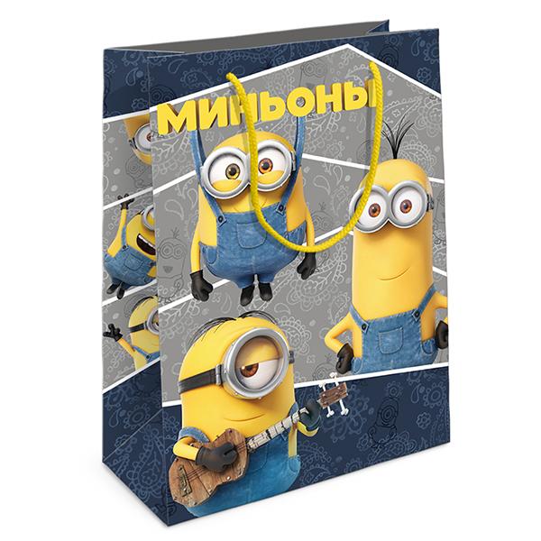 """Пакет подарочный бумажный R31017 """"Забавные Миньоны"""", 35*25*9"""