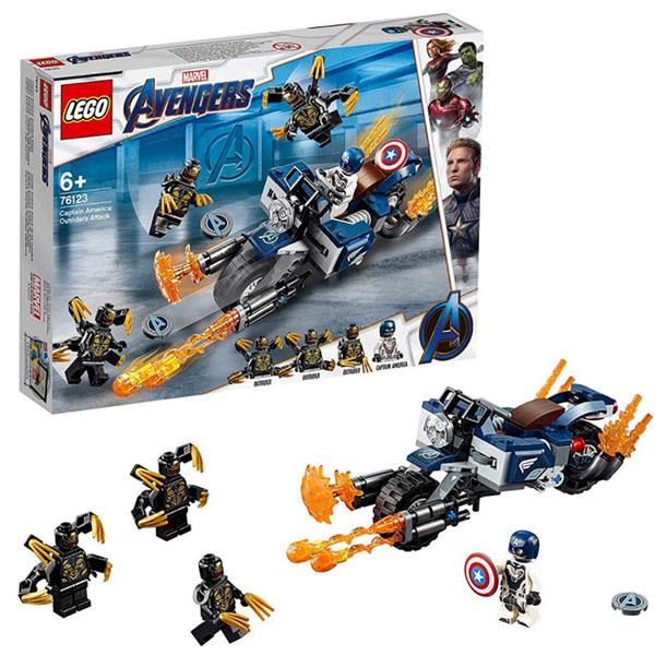 Купить LEGO Super Heroes 76123 Конструктор ЛЕГО Супер Герои Капитан Америка: Атака Аутрайдеров, Конструкторы LEGO