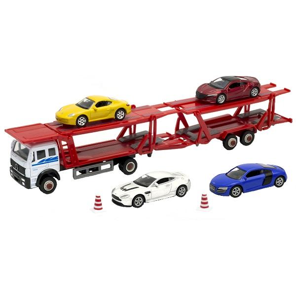 Купить Welly 79781B Велли Автовоз с 4 спортивными машинами, Машинка Welly
