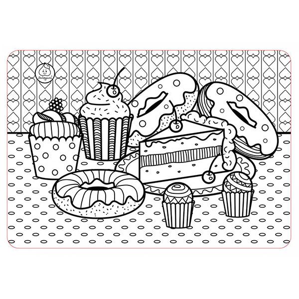 Купить ЯиГрушка 59897 Коврик-раскраска маленький Пирожные размер 48х33, 5 см, Наборы для творчества ЯиГрушка