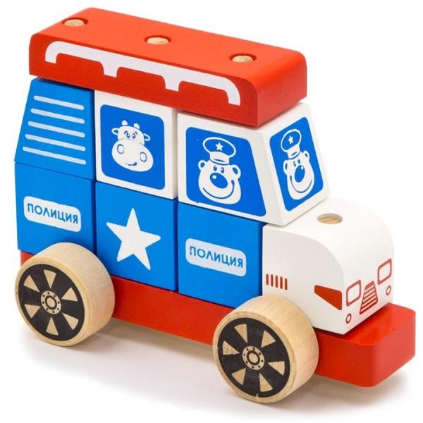 Купить Alatoys 03ALLLA Конструктор-каталка Полицейская машина большая , Деревянные игрушки Alatoys