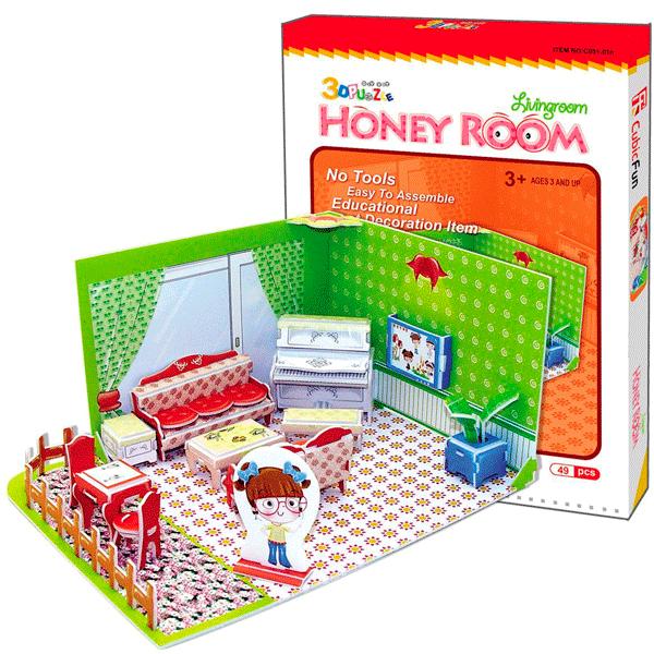 Купить Cubic Fun Honey room C051-01h Кубик фан Медовая комната, гостиная, 3D пазлы Cubic Fun