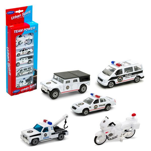 Купить Welly 97506A-1 Велли Игровой набор Полицейская команда 5 шт., Игровые наборы Welly