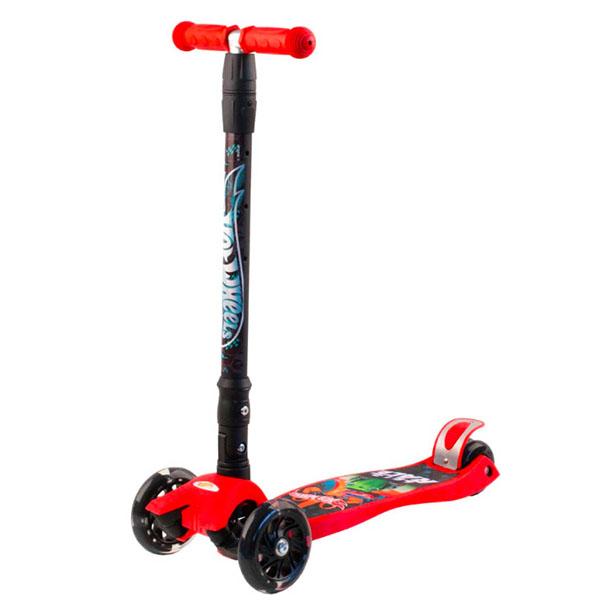 Hot Wheels HW5PR1 Самокат 3-х колесный, красный, размеры: 57х22х90см - Отдых и спорт