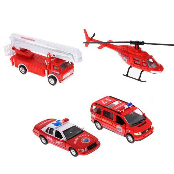 Купить Welly 98160-4C Велли Игровой набор машин Пожарная служба 4 шт, Машинка Welly