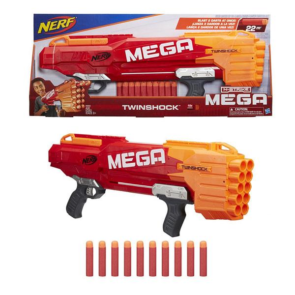 Hasbro Nerf B9894 НЁРФ МЕГА Твиншок (бластер), Игрушечное оружие Hasbro Nerf  - купить со скидкой