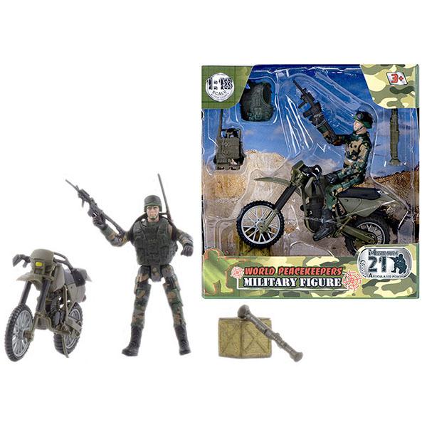 """Игровые наборы и фигурки для детей World Peacekeepers MC77014 Игровой набор """"WP. Мотоциклетные войска"""" 1:18, 1 фигурка фото"""