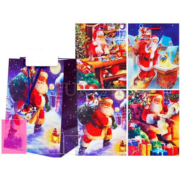 Пакет подарочный новогодний бумажный TZ14023 4 вида в ассортименте (44*32*15 см)