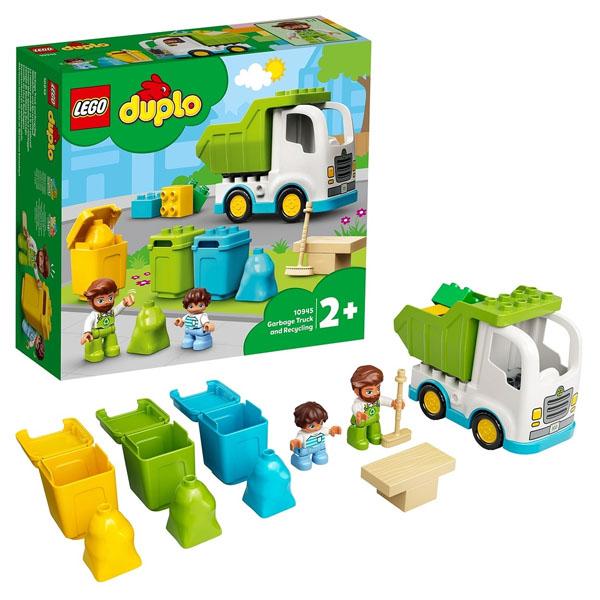 Купить LEGO DUPLO 10945 Конструктор ЛЕГО ДУПЛО Мусоровоз и контейнеры для раздельного сбора мусора, Конструктор LEGO