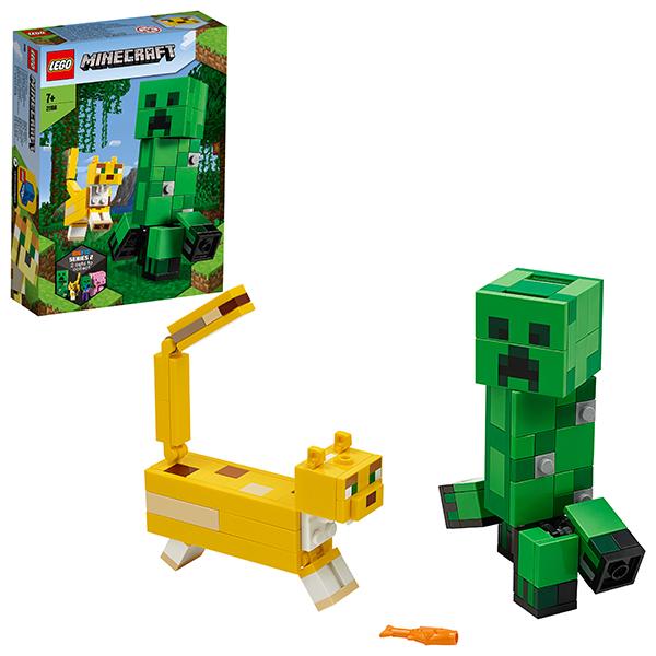 Купить LEGO Minecraft 21156 Конструктор ЛЕГО Майнкрафт Большие фигурки Minecraft, Крипер и Оцелот, Конструкторы LEGO