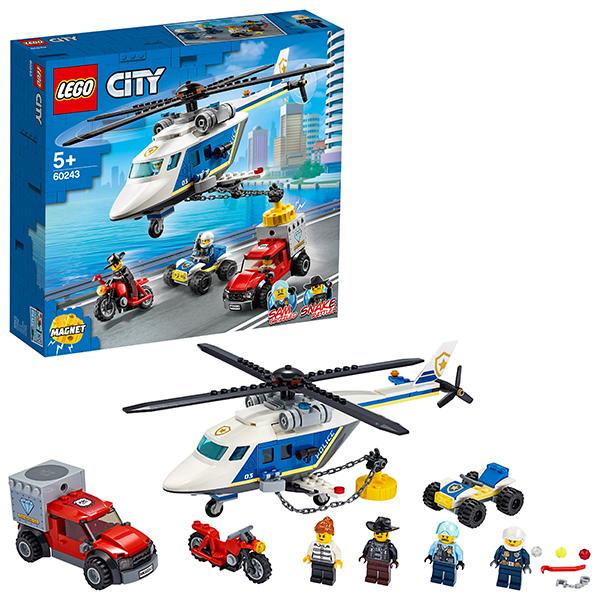 Купить LEGO City 60243 Конструктор ЛЕГО Город Погоня на полицейском вертолёте, Конструкторы LEGO