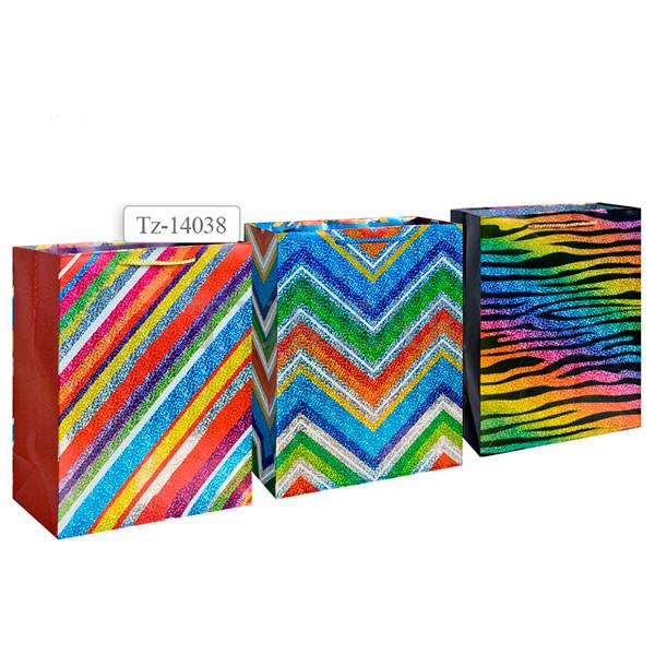 Пакет подарочный бумажный, 3 вида в ассортименте TZ14038 (32*26*12 см)