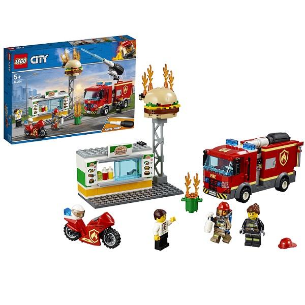Купить LEGO City 60214 Конструктор ЛЕГО Город Пожарные: Пожар в бургер-кафе, Конструкторы LEGO