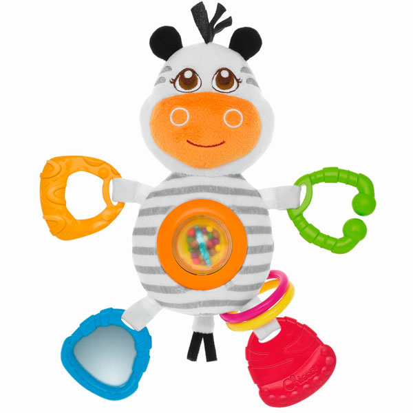 Купить CHICCO TOYS 7202 Игрушка погремушка мягкая Зебра от 6 месяцев, Развивающие игрушки для малышей CHICCO TOYS