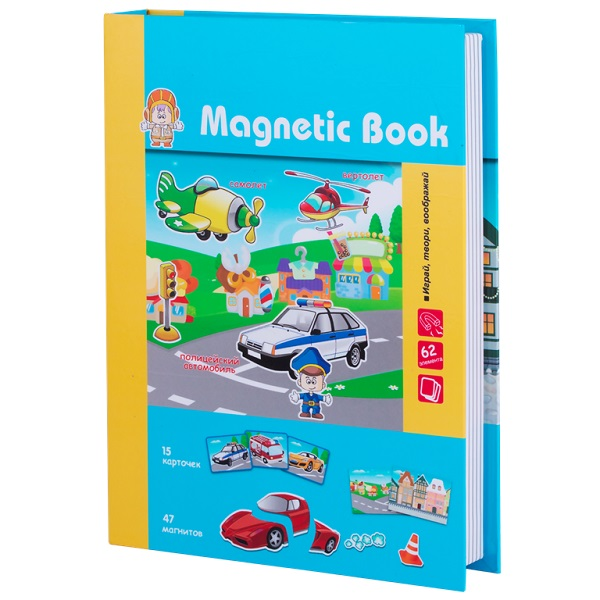 """Magnetic Book TAV032 Развивающая игра """"Веселый транспорт"""", 77 деталей"""