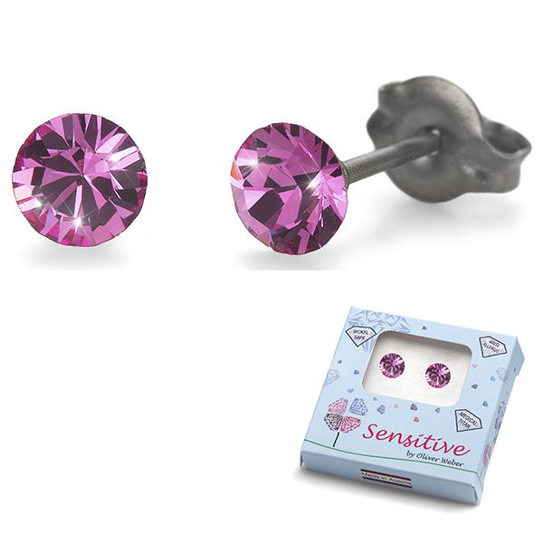 Oliver Weber S24001-209 Серьги из металла Oliver Weber Кристаллы (розовые) - Косметика и аксессуары