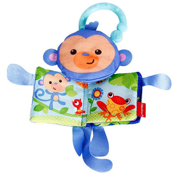 Купить Mattel Fisher-Price CBH87 Фишер Прайс Мягкая книжка обезьянка, Развивающие игрушки для малышей Mattel Fisher-Price