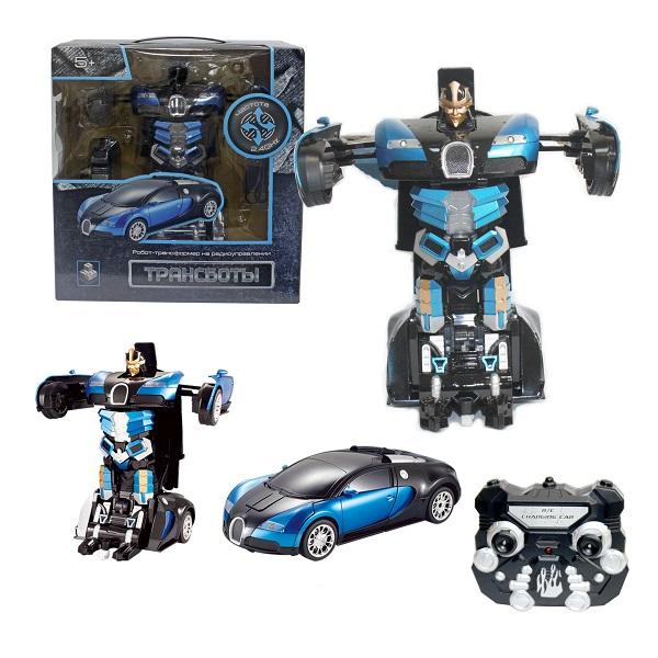 1toy T10862 Робот на р/у 2,4GHz, трансформирующийся в Спортивный автомобиль, 30 см, синий по цене 3 499