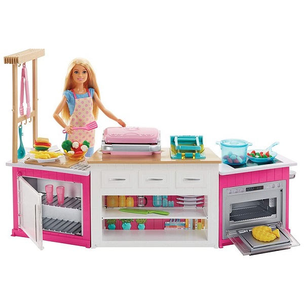 Mattel Barbie FRH73 Барби Супер кухня с куклой - Куклы и аксессуары
