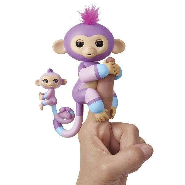 FINGERLINGS 3543M Интерактивная обезьянка Вайолет с малышом, 12 см