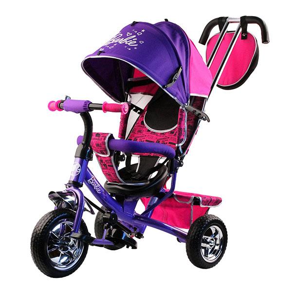 Купить BARBIE HB7VS Велосипед-коляска Barbie, колеса 10 и 8 , с руч.управ., наклонная спинка, фиолетов., Велосипед Джамбо Тойз