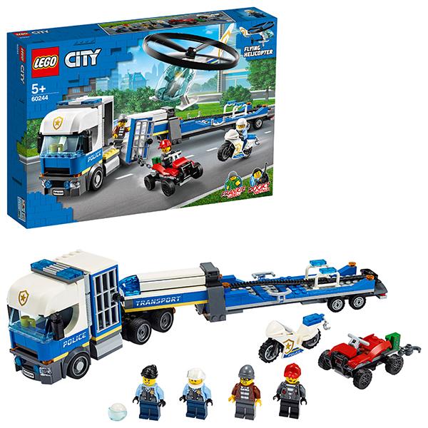 Купить LEGO City 60244 Конструктор ЛЕГО Город Полицейский вертолётный транспорт, Конструкторы LEGO
