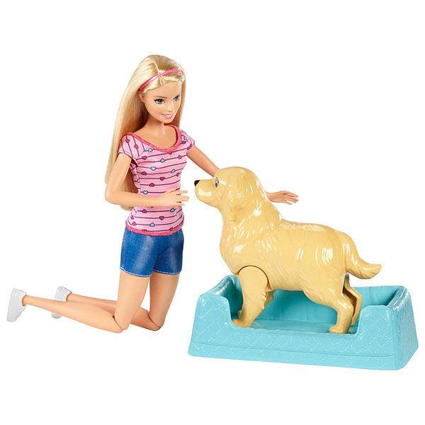 Купить Mattel Barbie FDD43 Барби Игровой набор Кукла и собака с новорожденными щенками , Кукла Mattel Barbie