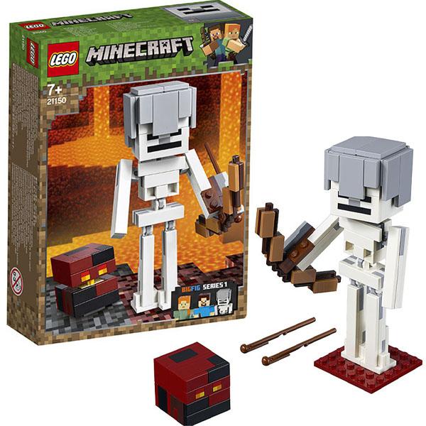 Купить LEGO Minecraft 21150 Конструктор ЛЕГО Майнкрафт Большие фигурки Minecraft, скелет с кубом магмы, Конструктор LEGO