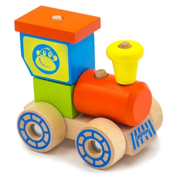 """Деревянные игрушки Alatoys 02ALLA Конструктор-каталка """"Паровозик"""" фото"""