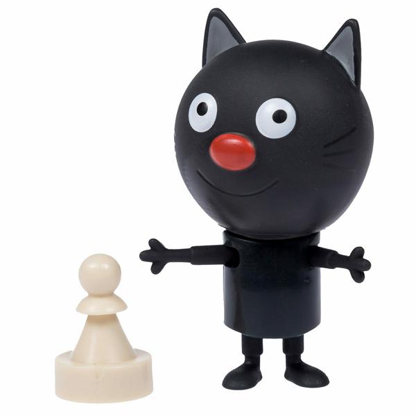 """Игровые наборы и фигурки для детей Три кота T16179 Фигурка """"Сажик"""" с шахматной фигуркой, 7,6 см, подвижные ножки и ручки, на блистере фото"""