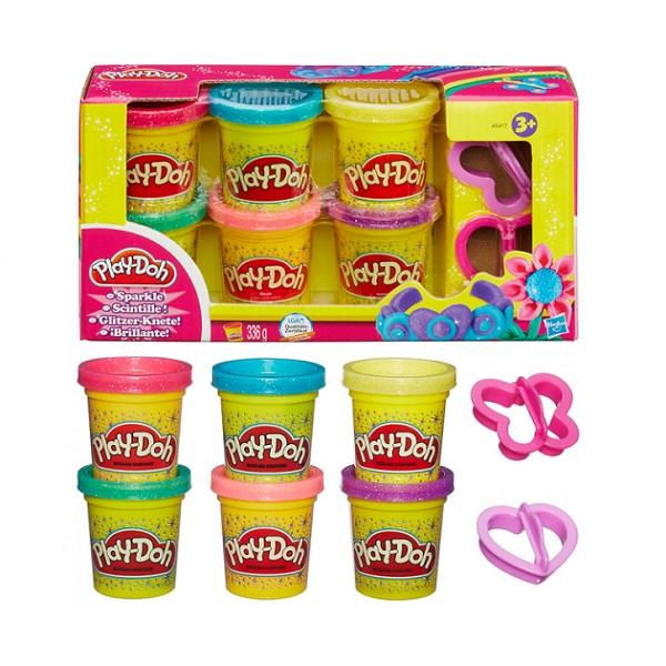 Hasbro Play-Doh A5417 Набор из 6 баночек Блестящая коллекция