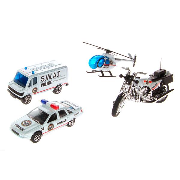 Купить Welly 98630-4A Велли Игровой набор Служба спасения - полиция 4 шт, Машинка Welly