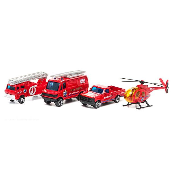 Купить Welly 98630-4C Велли Игровой набор Служба спасения - пожарная команда 4 шт, Машинка Welly