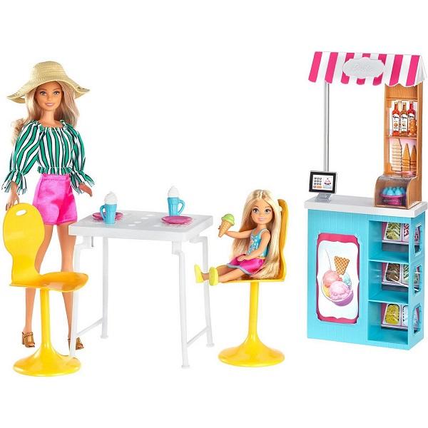 Купить Mattel Barbie GBK87 Барби Игровой набор Магазин кафе мороженое с куклой Барби и Челси, Игровой набор Mattel Barbie