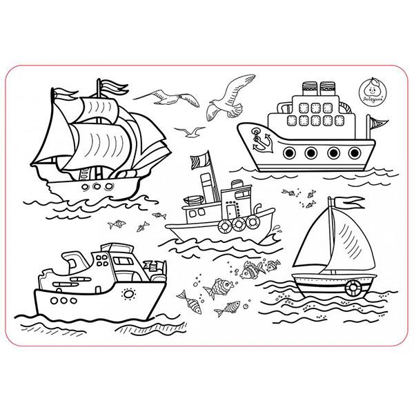 Купить ЯиГрушка 59899 Коврик-раскраска маленький Кораблики размер 48х33, 5 см, Наборы для творчества ЯиГрушка