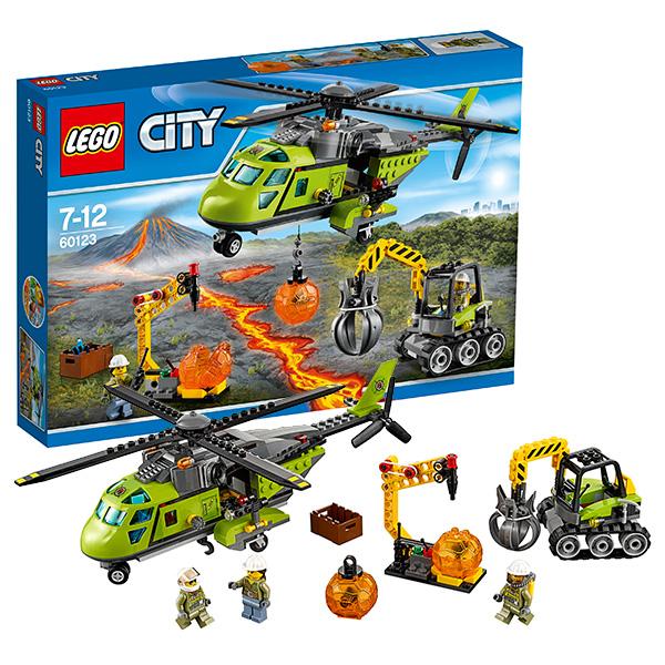 Купить Lego City 60123 Лего Город Грузовой вертолёт исследователей вулканов, Конструктор LEGO