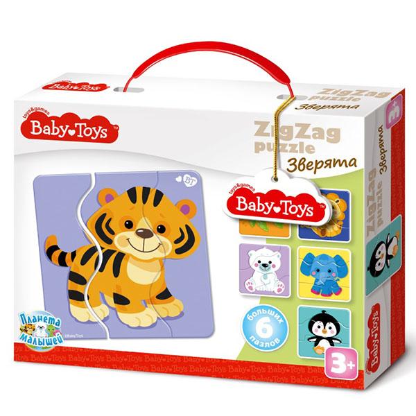 Купить BABY TOYS TD02501 Пазлы макси ЗИГЗАГ Зверята , (18 эл.), Пазлы Десятое Королевство