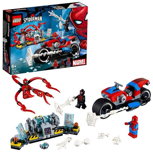 Купить LEGO Super Heroes 76113 Конструктор ЛЕГО Человек-паук: Спасательная операция на мотоцикле, Конструкторы LEGO