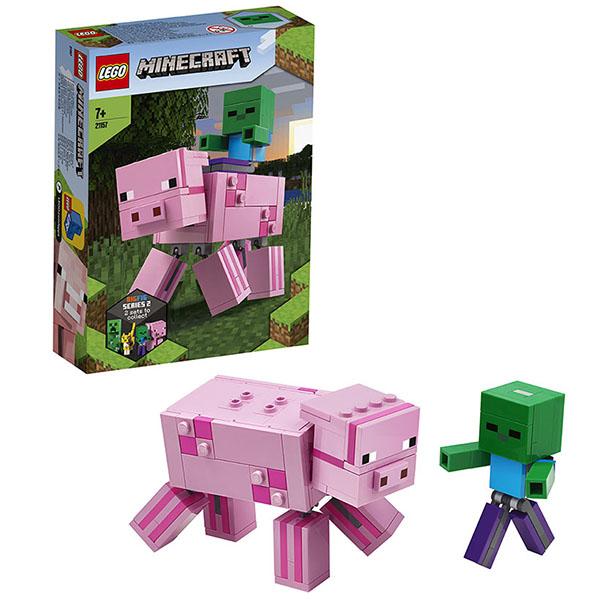 Купить LEGO Minecraft 21157 Конструктор ЛЕГО Майнкрафт Большие фигурки Minecraft, Свинья и Зомби-ребёнок, Конструкторы LEGO