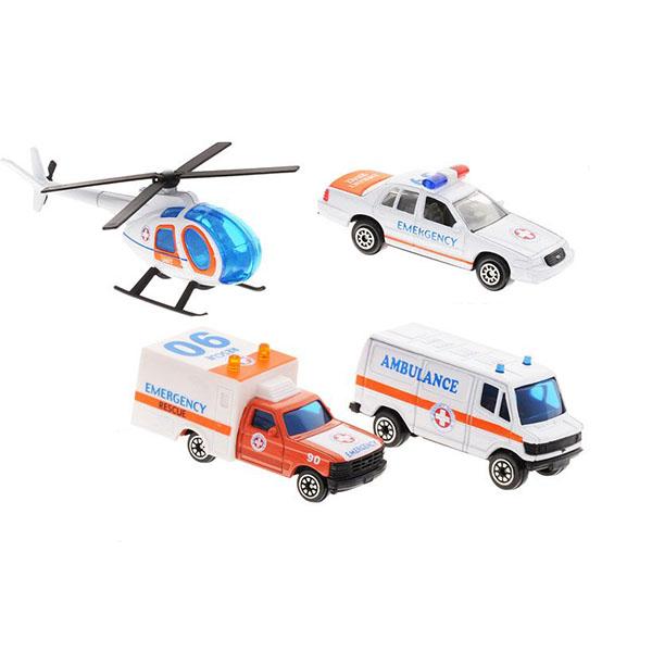 Купить Welly 98630-4B Велли Игровой набор Служба спасения - скорая помощь 4 шт, Машинка Welly
