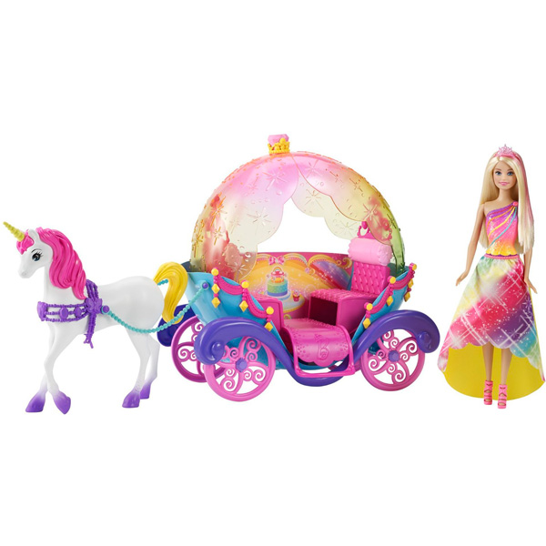 Купить Mattel Barbie DPY38 Барби Радужная карета и кукла, Игровой набор Mattel Barbie
