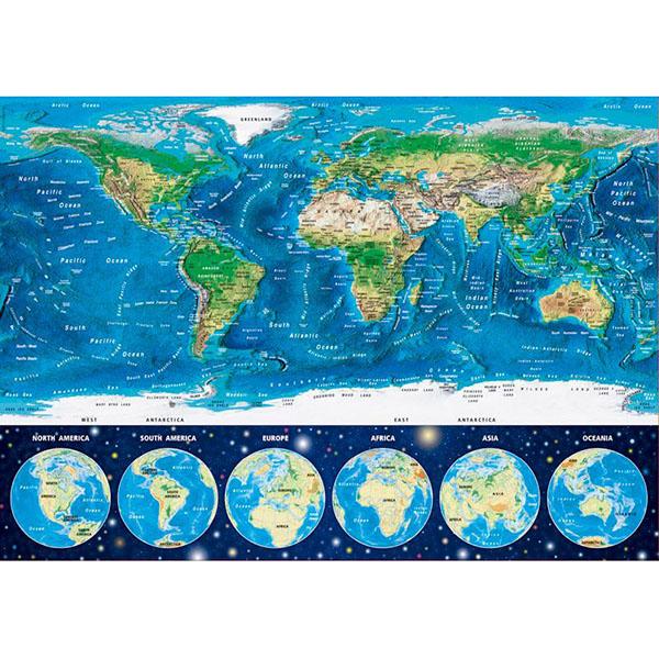 Educa 16760 Пазл 1000 деталей Неоновая карта мира - Настольные игры