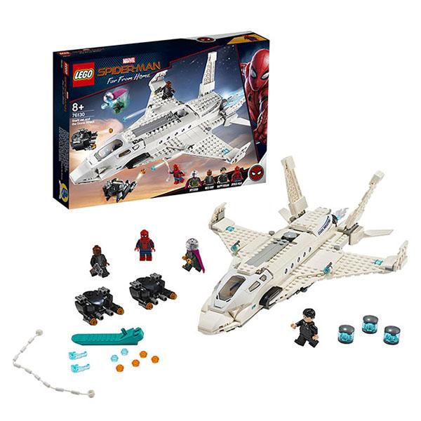 Купить LEGO Super Heroes 76130 Конструктор ЛЕГО Супер Герои Реактивный самолёт Старка и атака дрона, Конструкторы LEGO