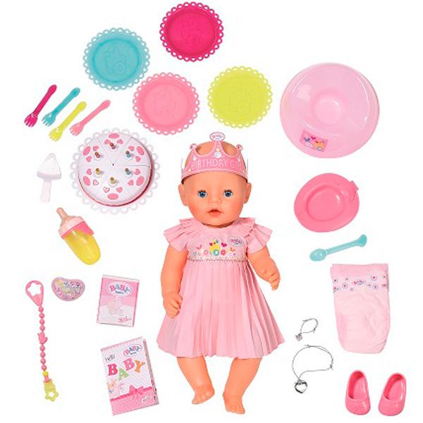 Zapf Creation Baby born 825-129 Бэби Борн Кукла Интерактивная Нарядная с тортом, 43 см, арт:149191 - Baby Born, Куклы и аксессуары