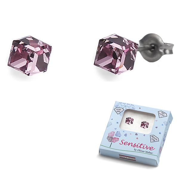Oliver Weber S24004-223 Серьги из металла Oliver Weber Кубики (розовые) - Косметика и аксессуары