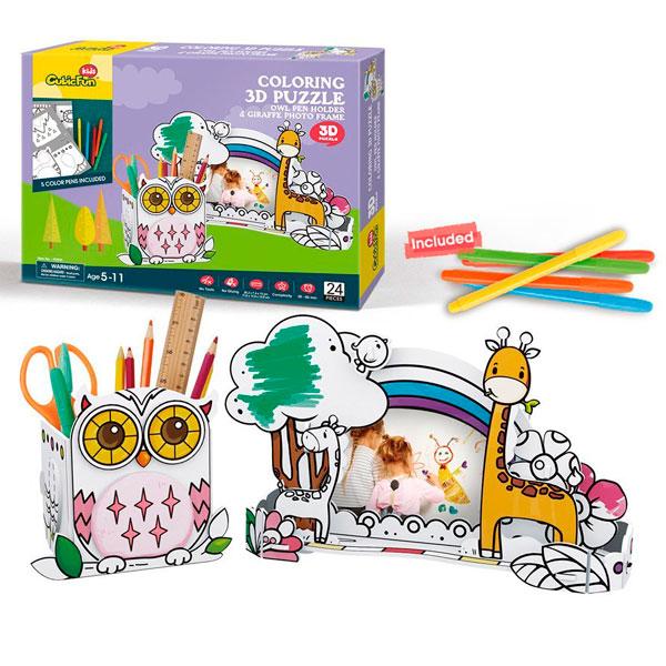 Купить Cubic Fun P695h Кубик фан Пазл-раскраска Сова и жираф (5 фломастеров в комплекте), 3D пазлы Cubic Fun